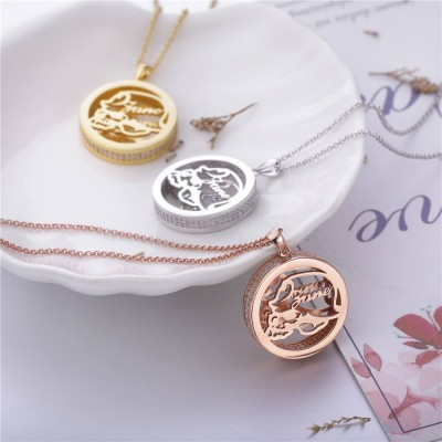 Round Engraved Name Pendent 925 Sterling Silver Necklace