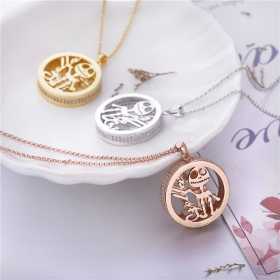 Round Skull Personalized 925 Sterling Silver Necklace