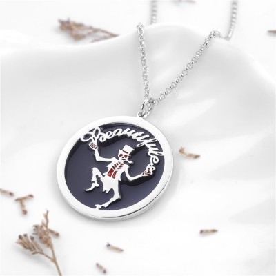 Magician Skull Personalized Pendant 925 Sterling Silver Necklace