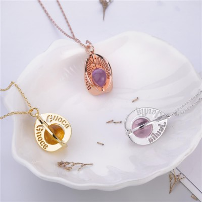 Water Drop Birthstone Engraved Personalized Pendant 925 Sterling Silver Necklace