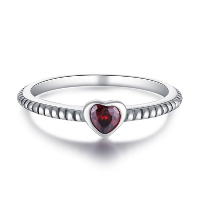 Tinnivi Heart Cut Created Ruby Sterling Silver Promise Ring