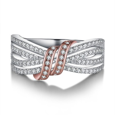 Tinnivi Stylish Knot Design Created White Sapphire Sterling Silver Womens Ring