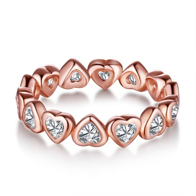Tinnivi Rose Gold Heart Design Created White Sapphire Sterling Silver Womens Ring