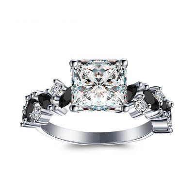 Tinnivi Elegant Princess Cut Created White Sapphire Sterling Silver Engagement Ring