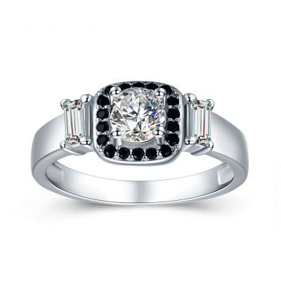 Tinnivi Simple Halo Round Cut Created White Sapphire Sterling Silver Engagement Ring