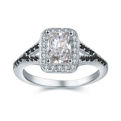 Tinnivi Gorgeous Halo Emerald Cut Created White Sapphire Sterling Silver Engagement Ring