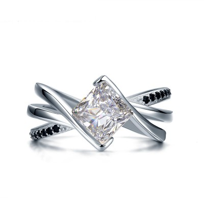 Tinnivi Stylish Twist Princess Cut Created White Sapphire Sterling Silver Engagement Ring