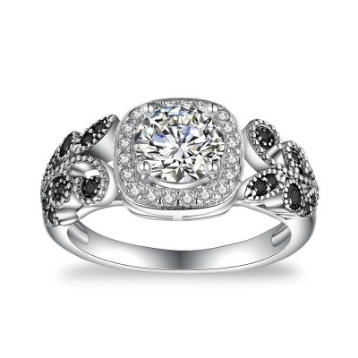 Tinnivi Gorgeous Vine Halo Round Cut Created White Sapphire Sterling Silver Engagement Ring