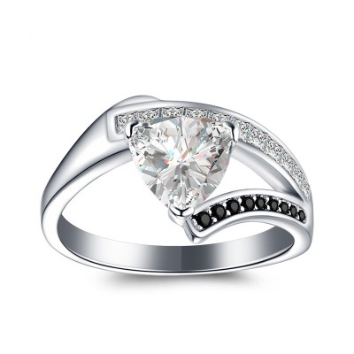 Tinnivi Stylish Trillion Cut Created White Sapphire Sterling Silver Engagement Ring