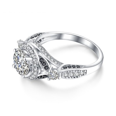 Tinnivi Gorgeous Halo Created White Sapphire Sterling Silver Engagement Ring