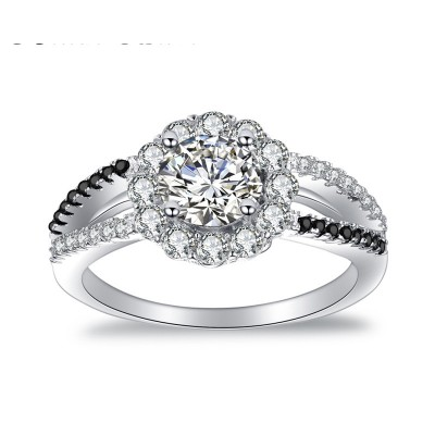 Tinnivi Halo Flower Design Round Cut Created White Sapphire Sterling Silver Engagement Ring