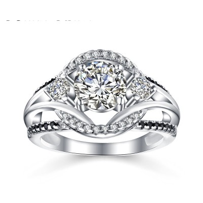 Tinnivi Stylish Halo Round Cut Created White Sapphire Sterling Silver Engagement Ring