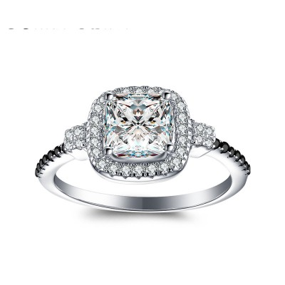 Tinnivi Elegant Halo Princess Cut Created White Sapphire Sterling Silver Engagement Ring