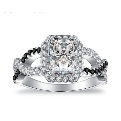 Tinnivi Twist Radiant Cut Created White Sapphire Sterling Silver Engagement Ring