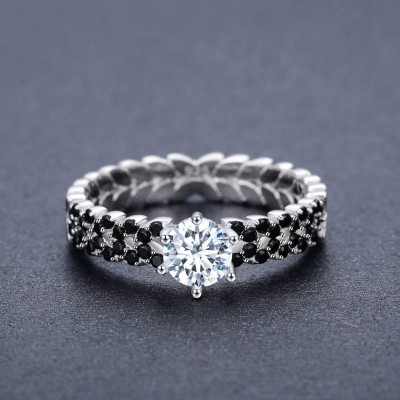 Tinnivi Classic Side Stone Round Cut Created White Sapphire Sterling Silver Engagement Ring