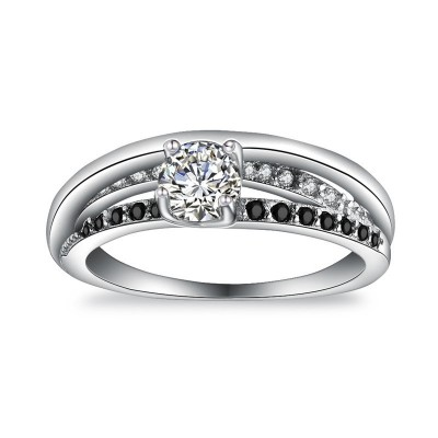 Tinnivi Simple Round Cut Created White Sapphire Twist Sterling Silver Engagement Ring