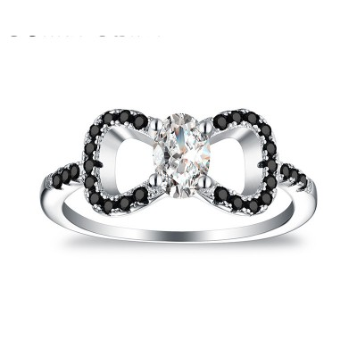 Tinnivi Cute Bowknot Oval Cut Created White Sapphire Sterling Silver Engagement Ring