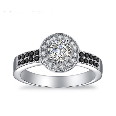 Tinnivi Halo Round Cut Created White Sapphire Sterling Silver Engagement Ring