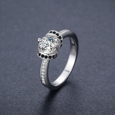 Tinnivi Created Black Sapphire Halo Sterling Silver Engagement Ring