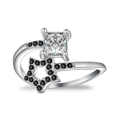 Tinnivi Star With Princess Cut Created White Sapphire Sterling Silver Ring