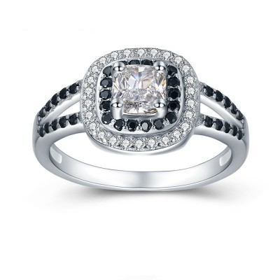 Tinnivi Double Halo Princess Cut Created White Sapphire Sterling Silver Engagement Ring