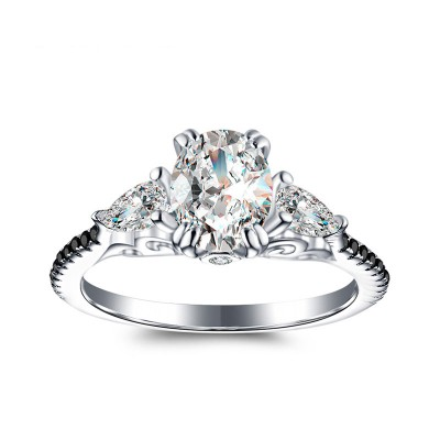 Tinnivi Elegant Three Stone Oval Cut Created White Sapphire Sterling Silver Engagement Ring