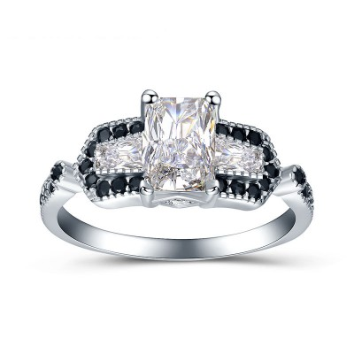 Tinnivi Three Stone Radiant Cut Created White Sapphire Sterling Silver Engagement Ring
