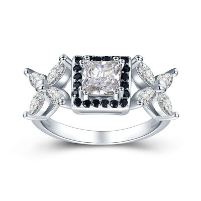 Tinnivi Flower Halo Cushion Cut Created White Sapphire Sterling Silver Engagement Ring