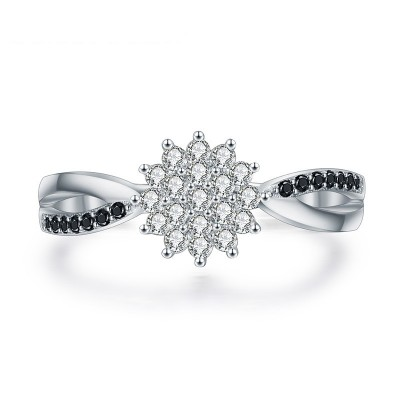 Tinnivi Flower Design Pave Created White Sapphire Sterling Silver Ring