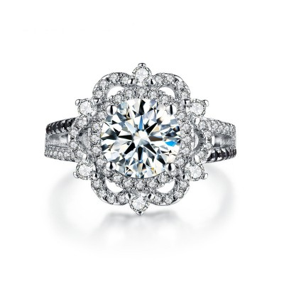 Tinnivi Gorgeous Flower Halo Created White Sapphire Sterling Silver Engagement Ring