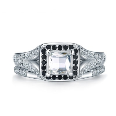 Tinnivi Delicate Halo Princess Cut Created White Sapphire Sterling Silver Engagement Ring