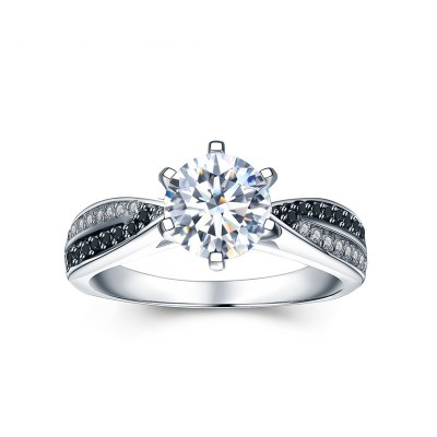 Tinnivi Simple Sterling Silver Round Cut Created White Sapphire Engagement Ring