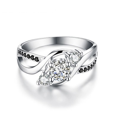 Tinnivi Stylish Three Stone Created White Sapphire Sterling Silver Engagement Ring