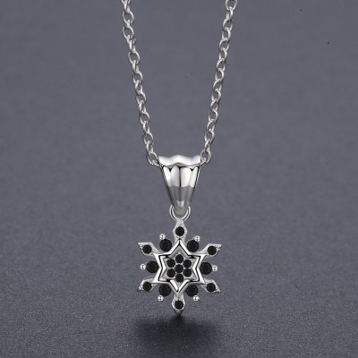 Tinnivi Fashion Snowflake Sterling Silver Pendant Necklace