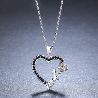 Tinnivi Heart With Rose Sterling Silver Pendant Necklace