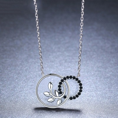 Tinnivi Fashion Double Circle Sterling Silver Pendant Necklace
