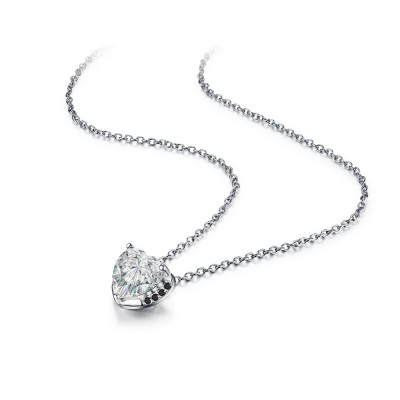 Tinnivi Gorgeous Heart Cut Created White Sapphire Sterling Silver Pendant Necklace