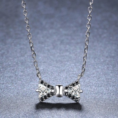Tinnivi Lovely Bowknot Created White Sapphire Sterling Silver Pendant Necklace