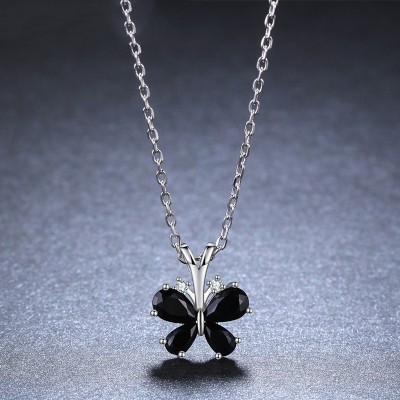 Tinnivi Butterfly Created Black Diamond Sterling Silver Pendant Necklace