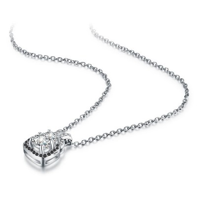 Tinnivi Halo Oval Cut Created White Sapphire Sterling Silver Pendant Necklace