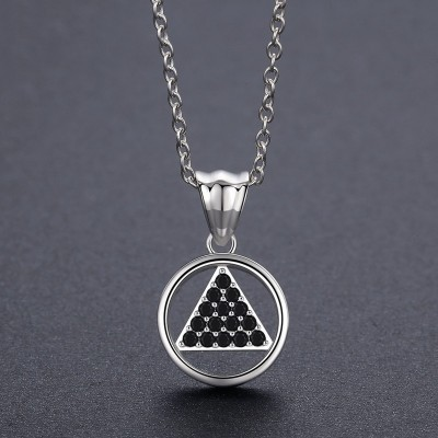 Tinnivi Fashion Circle Triangle Sterling Silver Pendant Necklace