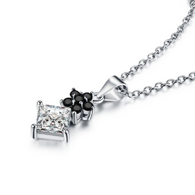 Tinnivi Flower Princess Cut Created White Sapphire Sterling Silver Pendant Necklace