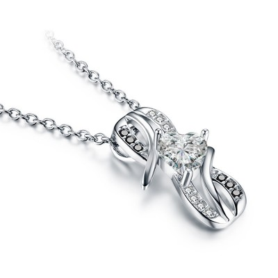 Tinnivi Bowknot Design Heart Cut Created White Sapphire Sterling Silver Pendant Necklace