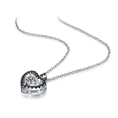 Tinnivi Heart Created White Sapphire Sterling Silver Pendant Necklace