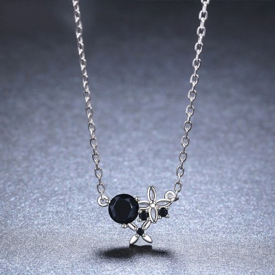 Tinnivi Flower Created Black Diamond Sterling Silver Pendant Necklace