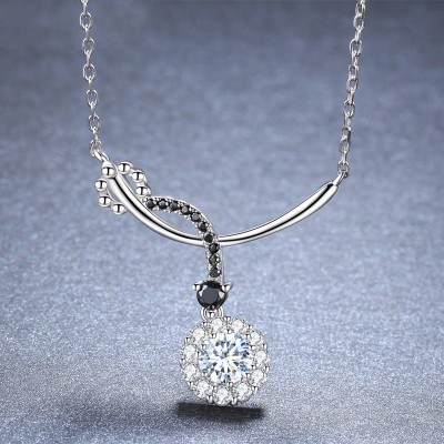 Tinnivi Stylish Halo Created White Sapphire Sterling Silver Pendant Necklace