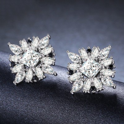 Tinnivi Gorgeous Princess Cut Created White Sapphire Sterling Silver Stud Earrings