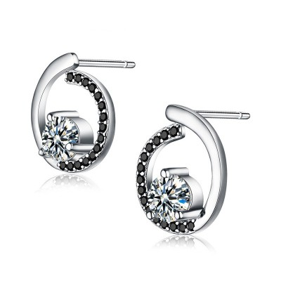 Tinnivi Fashion Hollow Out Circle Sterling Silver Stud Earrings