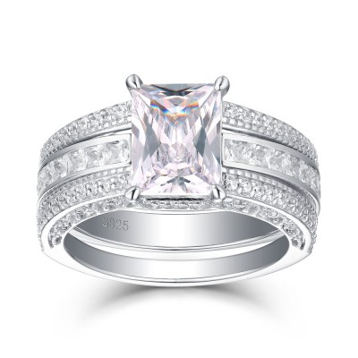 Tinnivi Gorgeous Emerald Cut Created White Sapphire Sterling Silver Wedding Set