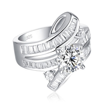Tinnivi Sterling Silver Stylish Side Stone Round Cut Created White Sapphire Engagement Ring